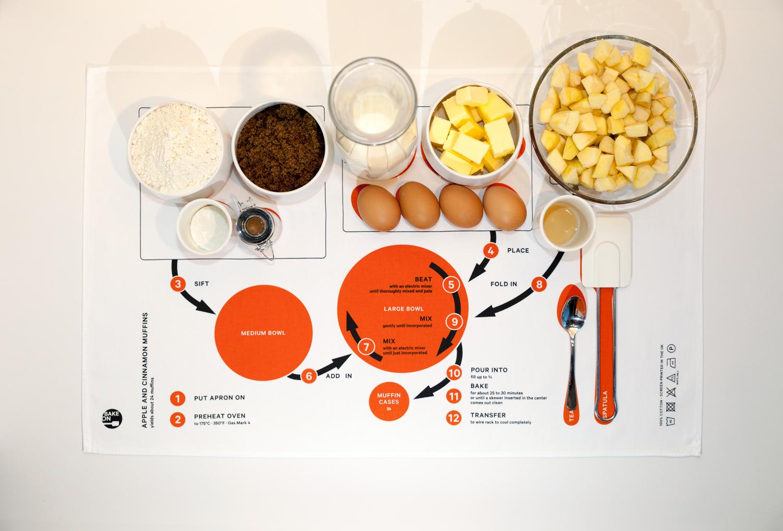 Apple & Cinnamon Muffins towel with ingredients